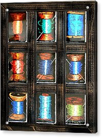 Acrylic Print featuring the drawing 9 Spools by Joseph Hawkins