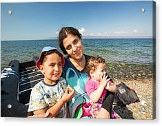 Syrian Refugees Arriving On Greek Island Acrylic Print