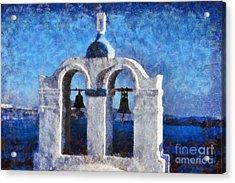 Traditional Belfry In Santorini Island Acrylic Print by George Atsametakis