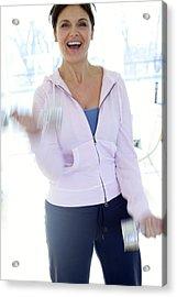 Woman Exercising Acrylic Print by Ian Hooton/science Photo Library