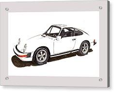 911 White On White 1978 Porsche Acrylic Print