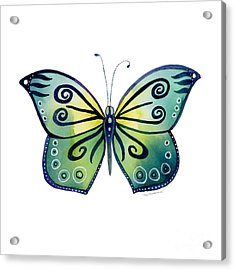92 Teal Button Cap Butterfly Acrylic Print by Amy Kirkpatrick