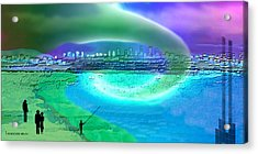 920 - Blue City On The Sea Acrylic Print by Irmgard Schoendorf Welch