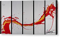 96x49 The Red Dragon  - Black Fire - Huge Signed Art Abstract Paintings Modern Www.splashyartist.com Acrylic Print
