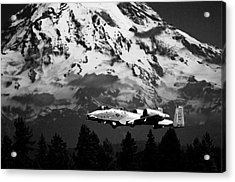 A-10 Over Mt. Rainier Acrylic Print by Chris McKenna