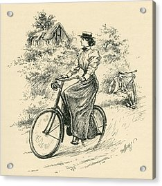 A 19th Century Female Cyclist Acrylic Print