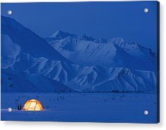 A Backpacking Tent Lit Up At Twilight Acrylic Print by Kevin Smith