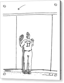 A Baseball Player Watches A Ball Fly Over A Wall Acrylic Print by Michael Crawford