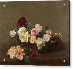 Acrylic Print featuring the painting A Basket Of Roses by Henri Fantin-Latour