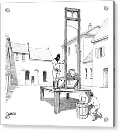 A Basketball Hoop Is Placed Under A Guillotine Acrylic Print by Matthew Diffee