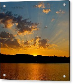 A Bay Sunset Acrylic Print by Justin Connor