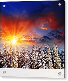 A Beautiful Sunset In The Winter Acrylic Print by Boon Mee