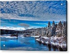 A Beautiful Winter Day At The Green Bridge Acrylic Print by David Patterson