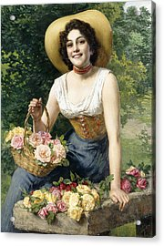 A Beauty Holding A Basket Of Roses Acrylic Print