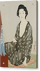 A Beauty In A Black Kimono Acrylic Print by Hashiguchi