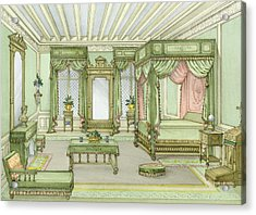 A Bedroom Interior In Henri II Style Acrylic Print by French School