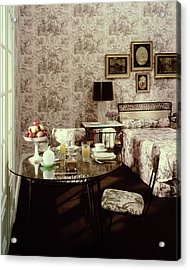 A Bedroom With Matching Wallpaper Acrylic Print