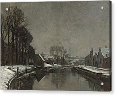 A Belgian Town In Winter Acrylic Print by Albert Baertsoen