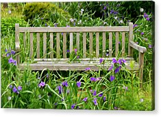 A Bench For The Flowers Acrylic Print by Gary Slawsky