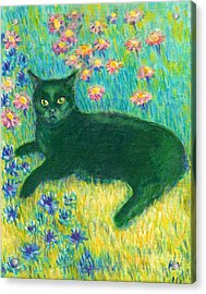 A Black Cat On Floral Mat Acrylic Print
