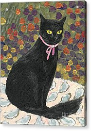 A Black Cat On Oyster Mat Acrylic Print