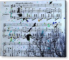 A Melody Of Blackbirds Acrylic Print by Gothicrow Images