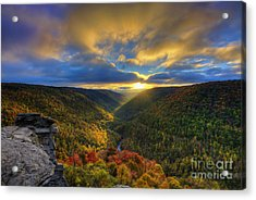 Acrylic Print featuring the photograph A Blue And Gold Sunset by Dan Friend