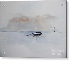 Acrylic Print featuring the painting A Blue Mooring by Sibby S