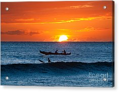 A Boat And Surfer At Sunset Maui Hawaii Usa Acrylic Print