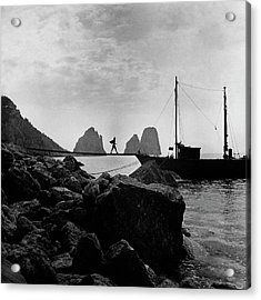 A Boat Docked At Capri Acrylic Print by Clifford Coffin