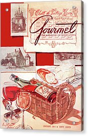 A Bottle Of Bordeaux And Some Melting Camembert Acrylic Print by Henry Stahlhut