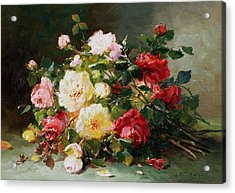 A Bouquet Of Roses Acrylic Print by Eugene Henri Cauchois
