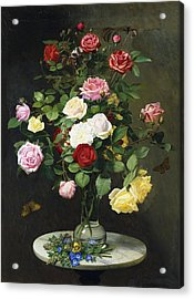 A Bouquet Of Roses In A Glass Vase By Wild Flowers On A Marble Table Acrylic Print
