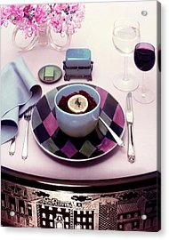 A Bowl Of Food On A Pink Table Acrylic Print