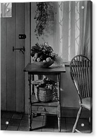 A Bowl Of Vegetables On A Table Acrylic Print by Charles Darling