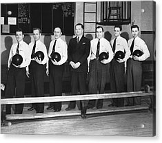 A Bowling Team With Balls Acrylic Print by Underwood Archives