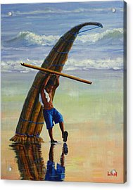 A Boy And His Caballito De Totora Acrylic Print