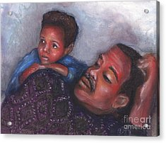 Acrylic Print featuring the mixed media A Boy And His Dad by Alga Washington