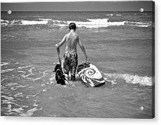 A Boy And His Dog Go Surfing Acrylic Print by Kristina Deane