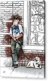 A Boy And His Dog Acrylic Print by John Haldane