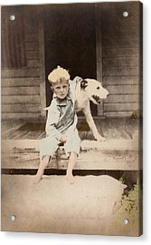 Acrylic Print featuring the photograph A Boy And His Dog by Ron Crabb