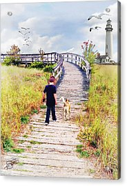 A Boy And His Dog Acrylic Print by Tom Schmidt