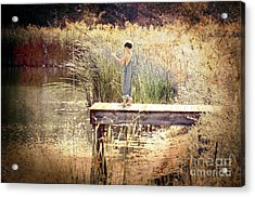 A Boy Fishing Acrylic Print by Jt PhotoDesign