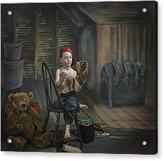 A Boy In The Attic With Old Relics Acrylic Print by Pete Stec