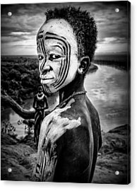 A Boy Of The Karo Tribe. Omo Valley (ethiopia). Acrylic Print