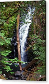 Acrylic Print featuring the digital art A Breathtaking Waterfall. by Timothy Hack
