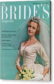 A Bride In A Ivory Wedding Dress Acrylic Print by Eveyln Hofer