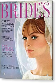 A Bride Wearing Silk Shantung With Shantung Roses Acrylic Print by Charles Fitzpatrick