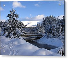 A Bridge In The Snow Acrylic Print by Jacqi Elmslie