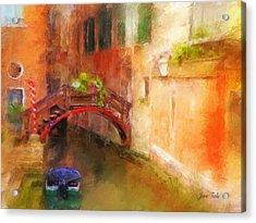 A Bridge In Venice Acrylic Print by Jane Fiala